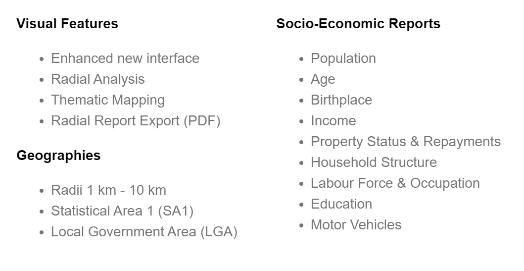 Visual Features: Enhanced new interface, Radial Analysis, Thematic Mapping, Radial Report Export (PDF). Geographies: Radii 1km - 10km, Statistical Area 1, Local Government Area. Socio-Economi Reports: Population, Age, Birthplace, Income, Property Status & Repayments, Household Structure, Labour Force & Occupation, Education, Motor Vehicles